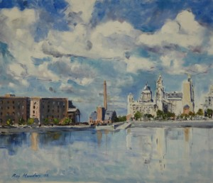 painting of the liver buildings, from the albert dock, liverpool, art classes
