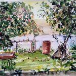 watercolour, view of a fruit tree garden, russia. by artist roy munday, watercolour teacher, liverpool, southport, ormskirk, merseyside, lancashire