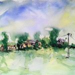 watercolour, free and loose, with ink. by artist roy munday. teaches art classes on Merseyside and Lancashire